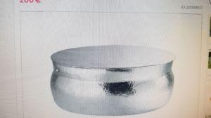 Nomade tavolo basso rotondo in alluminio in accoppiata con lampada uguale..OCCASIONE